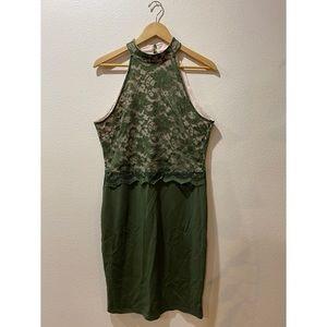 XL olive green cocktail dress